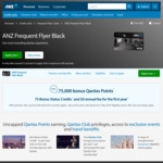ANZ Qantas Frequent Flyer Visa Black (75k Qantas Points, 75 Status Credits, First Year Free)