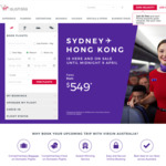 Business Class- HKG from $1,758 Return from ADL/PER & More (Virgin Australia)