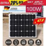 Mono 100W 12V Portable Solar Panel $47.20 Delivered @ Outbax Camping eBay