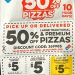 2x Garlic Bread $5, 1.25L Drink + Garlic Bread $5, Large Value Range Pizza or Selected Sides $5 (Pickup) @ Dominos