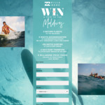 Win a Getaway to the Maldives for 2 Worth $8,000 from Billabong