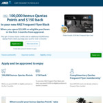 ANZ Frequent Flyer Black - 100,000 Bonus QFF Points + $150 Cash Back ($3,000 Spend in First 3 Months) - $425 Annual Fee