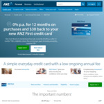 ANZ First Credit Card - 0% p.a. Interest on Purchases for 12 Months, $30 Annual Fee Waived for 1 Year @ ANZ
