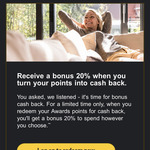 Get 20% Extra When You Redeem CommBank Awards Points for Cashback @ CommBank