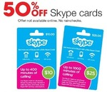 Target - 50% off Skype Cards (Starts 24 April)