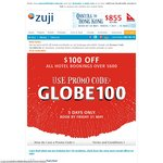 Zuji - $100 off All Hotel Bookings over $600 - 5 Days Only