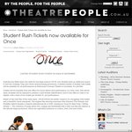 """$40 - Once (Musical) - """"Student Rush Tickets"""" - Princess Theatre Melbourne"""