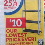 4 Tier Galvanised Shelf 60KG at Masters $10 (Save $8)