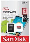 SanDisk Ultra 80MB/s MicroSD: 16GB $8.95 Delivered @ PC Byte eBay