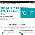 $20 off Mobile Monthly Bill if Bundle with Broadband @Optus