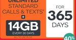 Kogan Mobile: Unlim Calls/TXT 14GB/Month: $315.08/Yr (40% off, $26.25/Month) or 10GB/Month: $254.34/Yr (35% off, $21.19/Month)