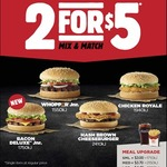 2 for $5 Offer @ Hungry Jacks (Excludes WA)