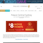 [NSW] Palace Cinemas $8 Movie Tickets (+ $1.30 Booking Fee) at Palace Central 16th to The 24th
