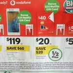 Free $20 Netflix Gift Card with Purchase of $40 Vodafone Starter Pack, $50 Vodafone Recharge or Nokia 3 $119 @ Woolworths
