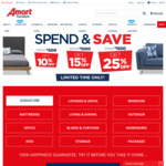 10%/15%/25% off on $500/ $1000/ $1500 Spend @ Amart Furniture