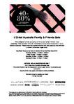 [VIC] Family & Friends Sale: 40-80% off RRP @ L'Oréal Australia, Caulfield Racecourse
