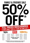 50% off Full Priced Diesel, Superdry and Mossimo (21st-26th June)