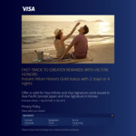 Receive Hilton Honors Gold Status with 2 Stays or 4 Nights within 90 Days (Visa Infinite/Signature Card)