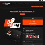 Boost Mobile $30 Prepaid Starter Kit $15 (1/2 Price) + $8 Cashback (New Customers) @ GoCashBack