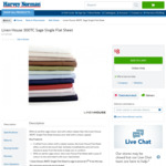 (Online Only) Linen House 300TC Sage Single Flat Sheet $8 (Was $34.95) + $19.95 Delivery @ Harvey Norman