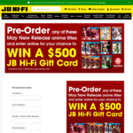 Win a $500 JB Hifi Giftcard from JB Hi-Fi [Pre-Order Purchase of New Anime Titles]