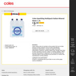 Coles Sparkling Multipack Italian Mineral Water 1.5L X 6 for $3.60 (Was $10.45) @ Coles