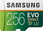 Samsung EVO Select 256GB microSDXC UHS-I U3 100MB/s Memory Card + Adapter $54.61 + Delivery ($0 w Prime) @ Amazon US via AU
