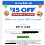 $15 off When You Spend $60 @ Catch