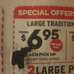 Traditional Pizzas $6.95ea (Pick up, before 3pm) @ Domino's (Selected Stores)