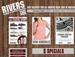 Rivers - Men's Jeans $15 and Women's Velcro & Elastic Sandals $22, One Week Only