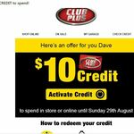 [Club Plus] Free $10 Store Credit for Select Club Plus Members (Activation Required) @ Supercheap Auto