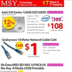 10 Metre CAT6 Network Cable for $1 & Others @ MSY