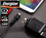 COTD - Energizer Dual USB Wall + Car Charger + Cable - Just Pay Postage ($8-$10)