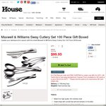 House Online: Maxwell & Williams 100 Piece Cutlery Set -  $74.96 + Shipping