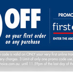 $10 off First Online Order of Any Purchase (Minimum Spend $10.01) @ First Choice Liquor