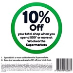 10% off $50+ Spend* @ Woolworths [In-Store Voucher Barcode] [VIC + Maybe NSW/WA/SA/QLD^]