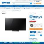 """Sony Bravia 75"""" X8500D 4K HDR LED TV $3,995 - Receive 10% Gift Card @ Bing Lee"""