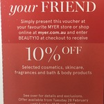 MYER 10% off Selected Cosmetics, Skincare, Fragrances and Bath & Body Products