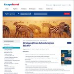 30-Days African Adventure $12,450 (Flights, Accommodation, Tours) @ Escape Travel