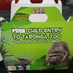 Free Child Ticket (with Paying Adult) to Taronga Zoo for Every Kid's Meal @ Hungry Jacks (NSW & ACT)