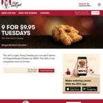 [Nationwide] 9 for $9.95 Tuesday's @ KFC (Via App) or Instore from 20th Feb