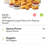$15.95 KFC Nugget Party Pack 30 Nuggets, 4 Sauces and 2 Large Chips (App Only), Not Available in VIC, TAS, ACT OR SA