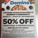 [VIC] 50% off Traditional & Premium Pizzas + Selected Sides @ Domino's Derrimut