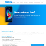 Lebara Unlimited 4GB/30 Days Small 180 Day Prepaid Plan (with Unlimited Calls to 10 Countries) $49 New Customers Only + $2 SIM