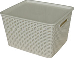 All Set Rattan Style Plastic Storage Container with Lid 55L - $5 @ Bunnings