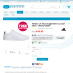 adidas CF Advantage Mens Casual Shoe White Green $49.99 (Was $99.99) + Delivery (Free C&C) @ Sportsmans Warehouse