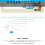 Win 1 of 50 Body Scrub/Moisturiser/Body Wash/Hand Wash Packs Worth $80 from Bondi Sands