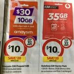 Vodafone $30 Prepaid SIM Starter Pack / amaysim $30 Prepaid SIM for $10 @ Coles