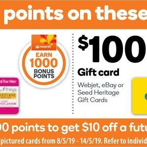 Buy A 100 Ebay Gift Card Get 2000 Bonus Rewards Points Worth 10 Woolworths Ozbargain