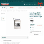 Solar Magic Stainless Steel Solar House Number Light $10 (Was $18.90) @ Bunnings